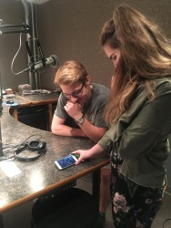 Jack Long and Meghan Malas get comfortable in their WYSO studio before recording for Dayton Youth Radio.