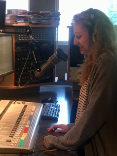 Michaela Pittman records her story at WYSO studio in Yellow Springs.