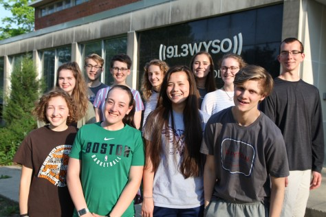 Dayton Youth Radio participants after their May 14 recording session at WYSO. Front: Mackenzie Pittman, Lauren Redfern, Kayla Stephensen, Drew Ward Back: Meghan Malas, Jack Long, Katie Bills-Tenney, Michaela Pittman, Sara Wolf, Sydney Krane